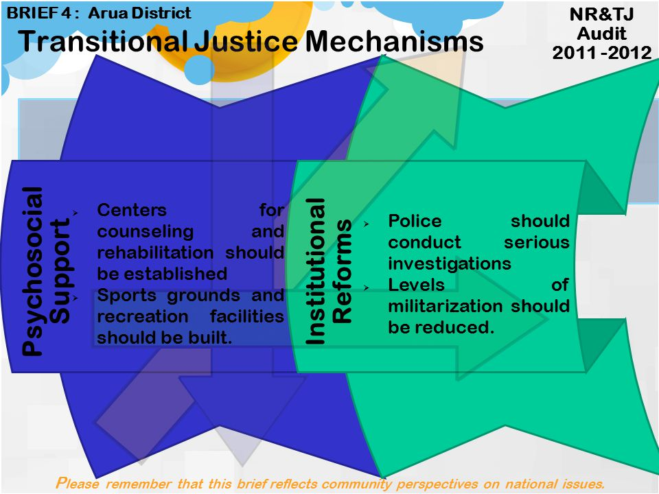 Legal Reforms Reconciliation Transitional Justice Mechanisms  Religious leaders should be given power to promote reconciliation  Leaders should spea