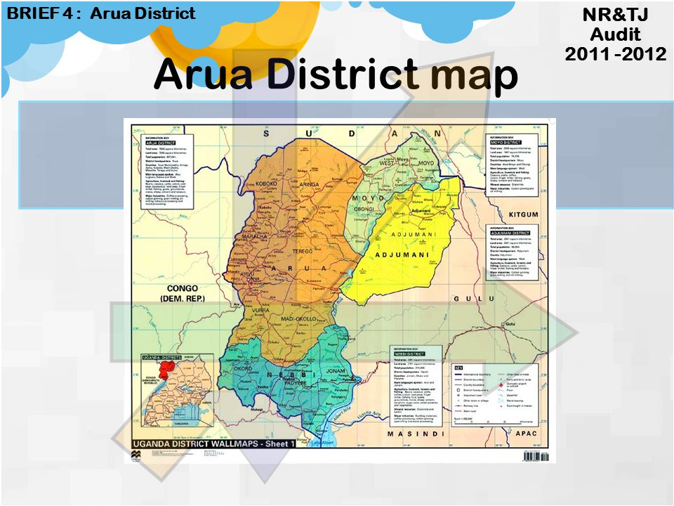 Drag picture to placeholder or click icon to add Map of Uganda showing Districts NR&TJ Audit 2011 -2012 BRIEF 4 : Arua District District Information A