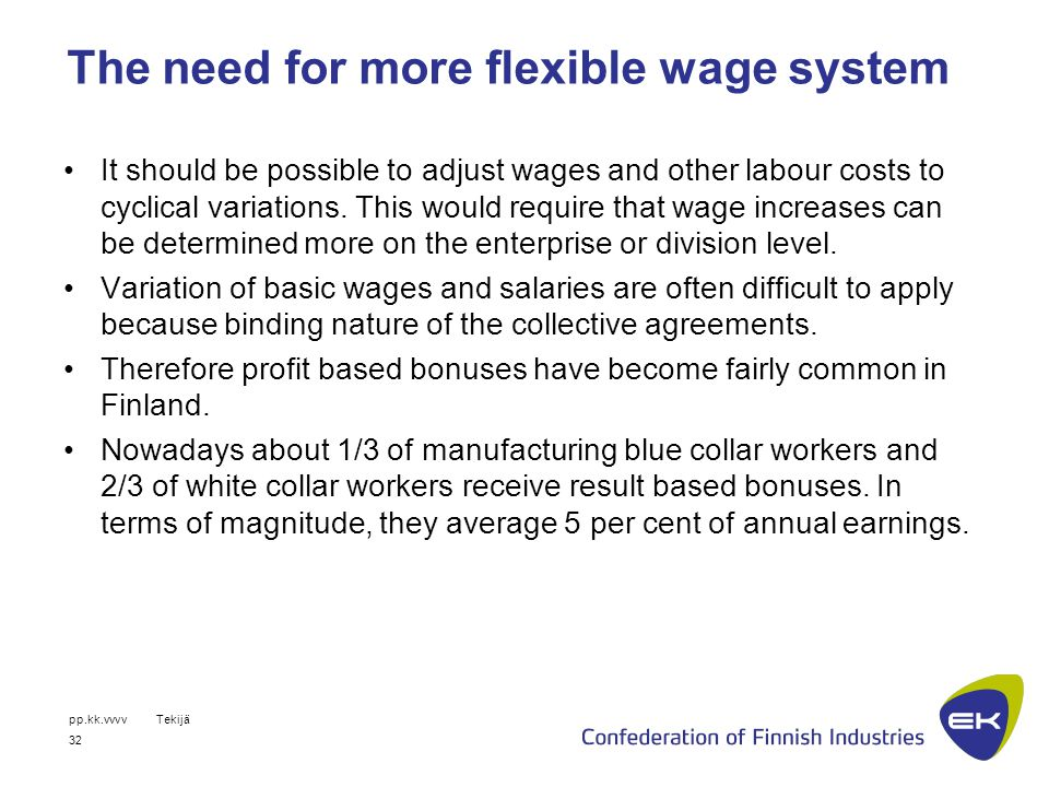 pp.kk.vvvvTekijä 32 The need for more flexible wage system It should be possible to adjust wages and other labour costs to cyclical variations.