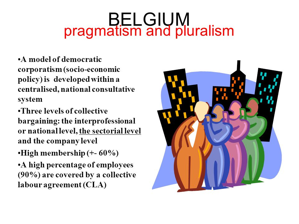 BELGIUM pragmatism and pluralism A model of democratic corporatism (socio-economic policy) is developed within a centralised, national consultative system Three levels of collective bargaining: the interprofessional or national level, the sectorial level and the company level High membership (+- 60%) A high percentage of employees (90%) are covered by a collective labour agreement (CLA)