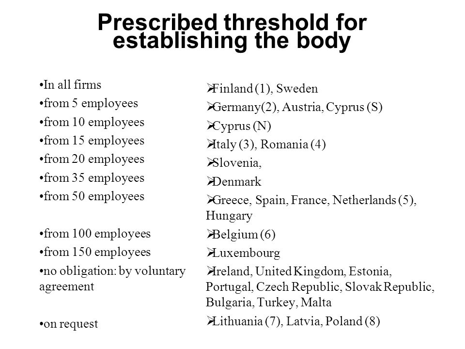 Prescribed threshold for establishing the body In all firms from 5 employees from 10 employees from 15 employees from 20 employees from 35 employees from 50 employees from 100 employees from 150 employees no obligation: by voluntary agreement on request  Finland (1), Sweden  Germany(2), Austria, Cyprus (S)  Cyprus (N)  Italy (3), Romania (4)  Slovenia,  Denmark  Greece, Spain, France, Netherlands (5), Hungary  Belgium (6)  Luxembourg  Ireland, United Kingdom, Estonia, Portugal, Czech Republic, Slovak Republic, Bulgaria, Turkey, Malta  Lithuania (7), Latvia, Poland (8)