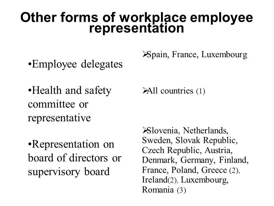 Other forms of workplace employee representation Employee delegates Health and safety committee or representative Representation on board of directors or supervisory board  Spain, France, Luxembourg  All countries (1)  Slovenia, Netherlands, Sweden, Slovak Republic, Czech Republic, Austria, Denmark, Germany, Finland, France, Poland, Greece (2), Ireland (2), Luxembourg, Romania (3)