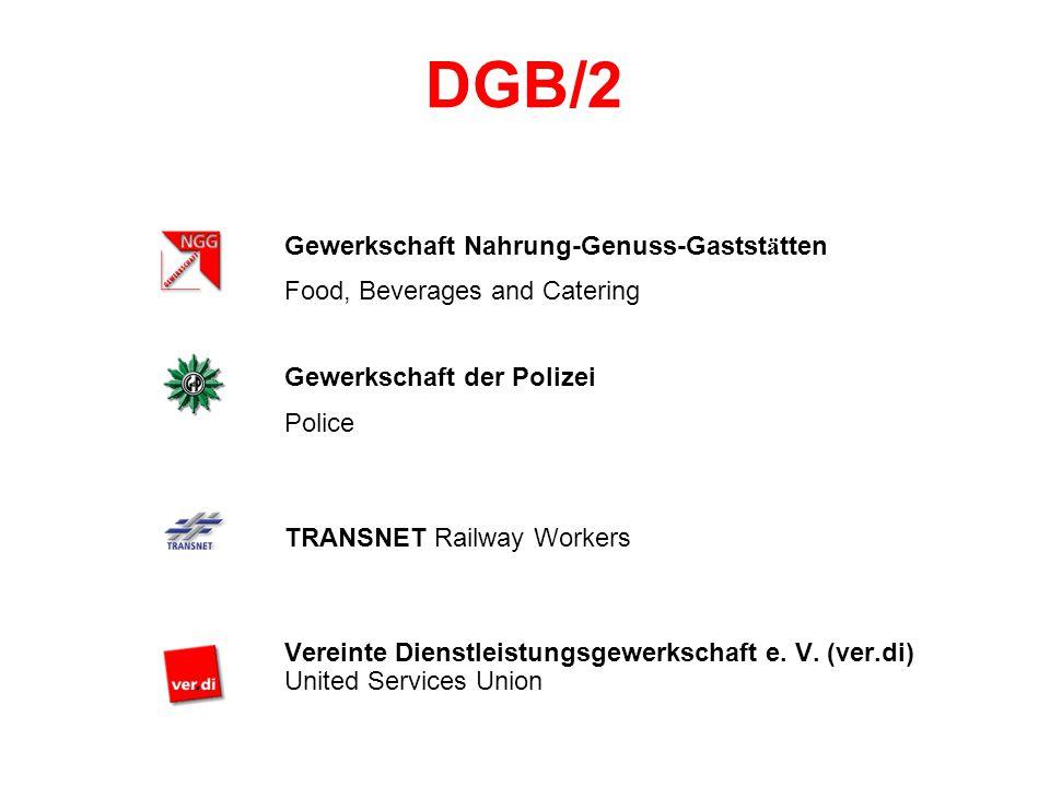 DGB/2 Gewerkschaft Nahrung-Genuss-Gastst ä tten Food, Beverages and Catering Gewerkschaft der Polizei Police TRANSNET Railway Workers Vereinte Dienstleistungsgewerkschaft e.