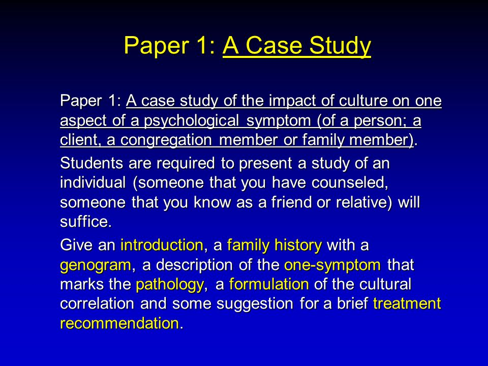 Paper 1: A Case Study (No differential diagnosis is required.) A BRIEF written (not more than 10 pages) summary is to be presented to the office by June 18, 2001 (deliver to Mary West).