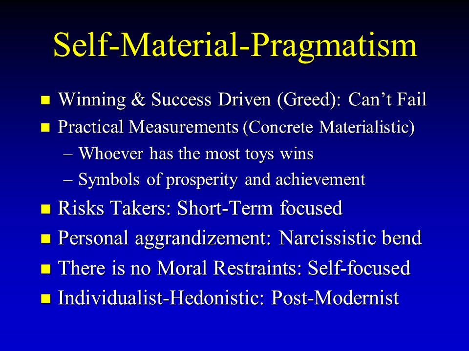 Self-Material-Pragmatism Winning Winning & Success Driven (Greed): Can't Fail Practical Practical Measurements Measurements (Concrete Materialistic) –