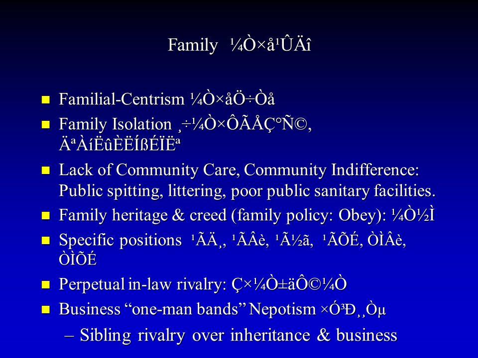 Family ¼Ò×å¹ÛÄî Familial-Centrism ¼Ò×åÖ÷Òå Familial-Centrism ¼Ò×åÖ÷Òå Family Isolation ¸÷¼Ò×ÔÃÅÇ°Ñ©, ĪÀíËûÈËÍßÉÏ˪ Family Isolation ¸÷¼Ò×ÔÃÅÇ°Ñ©, ĪÀ
