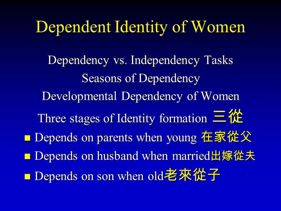 Dependent Identity of Women Dependency vs. Independency Tasks Seasons of Dependency Developmental Dependency of Women Three stages of Identity formati