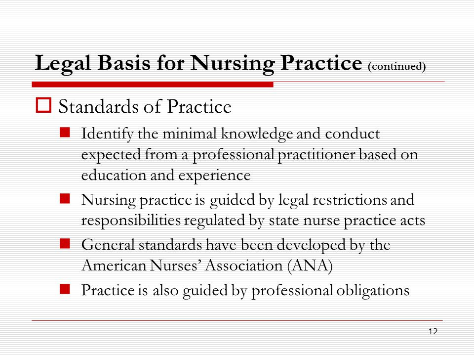 12 Legal Basis for Nursing Practice (continued)  Standards of Practice Identify the minimal knowledge and conduct expected from a professional practi