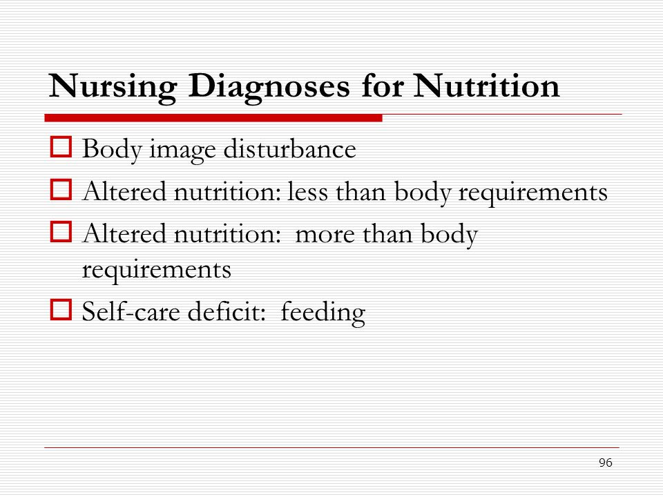 96 Nursing Diagnoses for Nutrition  Body image disturbance  Altered nutrition: less than body requirements  Altered nutrition: more than body requi