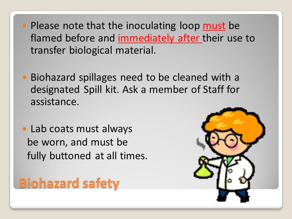 Biohazard safety Please note that the inoculating loop must be flamed before and immediately after their use to transfer biological material.
