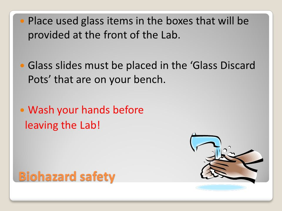 Biohazard safety Place used glass items in the boxes that will be provided at the front of the Lab.