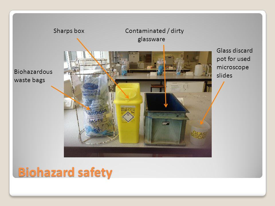 Biohazard safety Sharps boxContaminated / dirty glassware Glass discard pot for used microscope slides Biohazardous waste bags