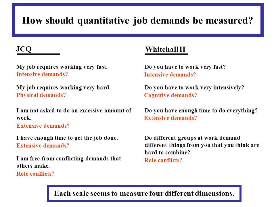 How should quantitative job demands be measured.