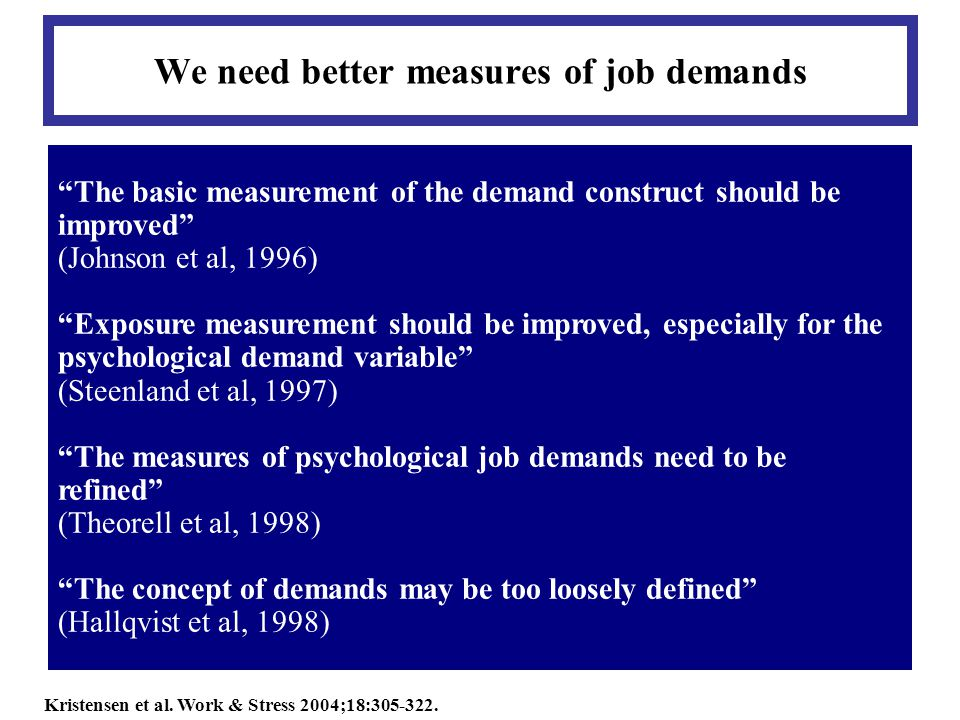 We need better measures of job demands The basic measurement of the demand construct should be improved (Johnson et al, 1996) Exposure measurement should be improved, especially for the psychological demand variable (Steenland et al, 1997) The measures of psychological job demands need to be refined (Theorell et al, 1998) The concept of demands may be too loosely defined (Hallqvist et al, 1998) Kristensen et al.