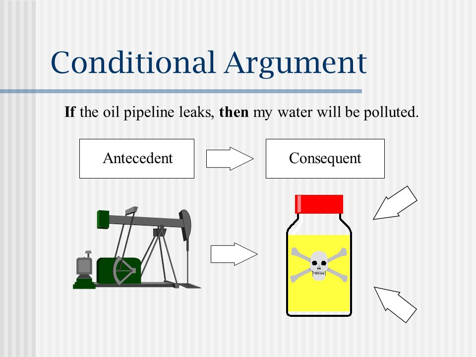 Conditional Argument If the oil pipeline leaks, then my water will be polluted.