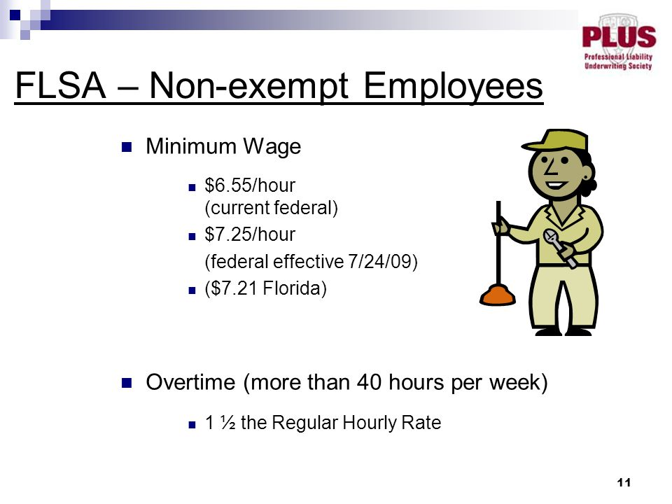 11 Minimum Wage $6.55/hour (current federal) $7.25/hour (federal effective 7/24/09) ($7.21 Florida) Overtime (more than 40 hours per week) 1 ½ the Regular Hourly Rate FLSA – Non-exempt Employees