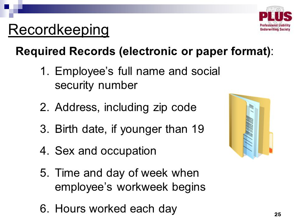 25 Recordkeeping Required Records (electronic or paper format): 1.Employee's full name and social security number 2.Address, including zip code 3.Birth date, if younger than 19 4.Sex and occupation 5.Time and day of week when employee's workweek begins 6.Hours worked each day