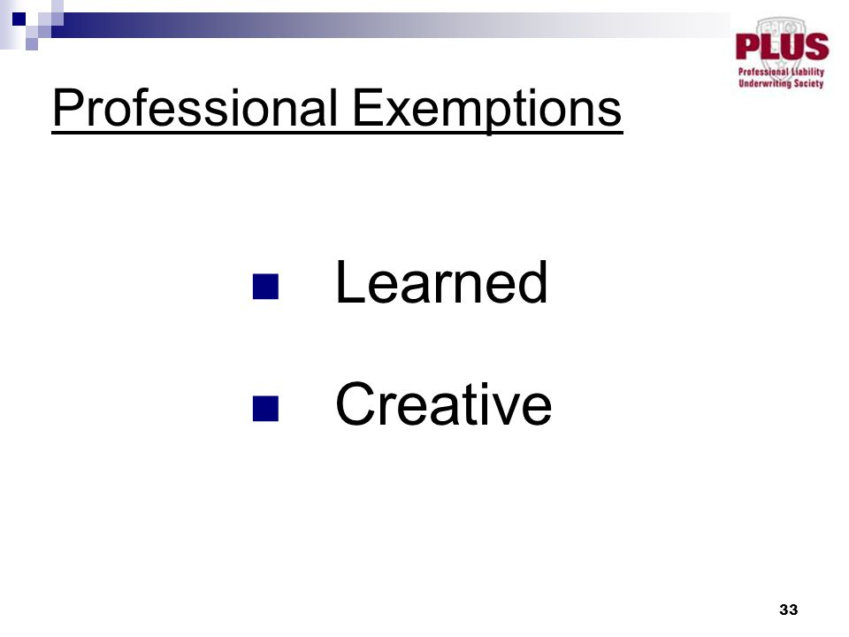 33 Professional Exemptions Learned Creative