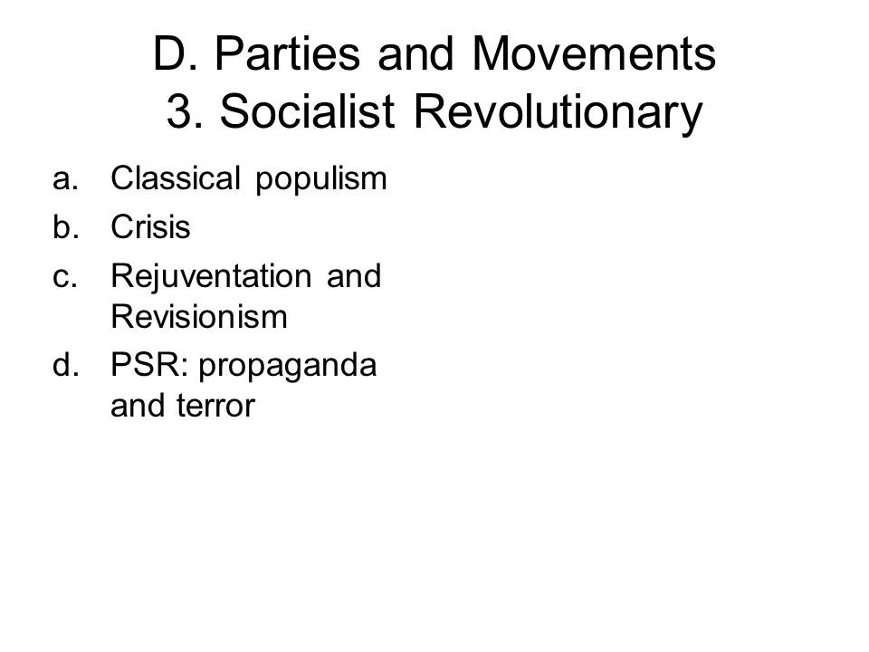D. Parties and Movements 3.