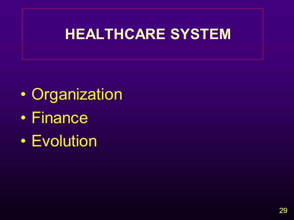29 HEALTHCARE SYSTEM Organization Finance Evolution