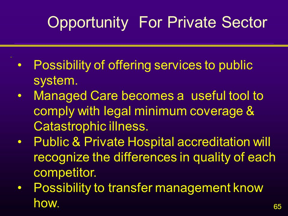65 - Possibility of offering services to public system.