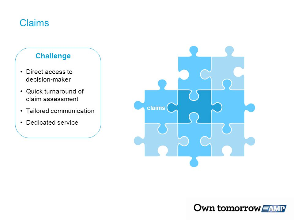 Claims Challenge Direct access to decision-maker Quick turnaround of claim assessment Tailored communication Dedicated service claims