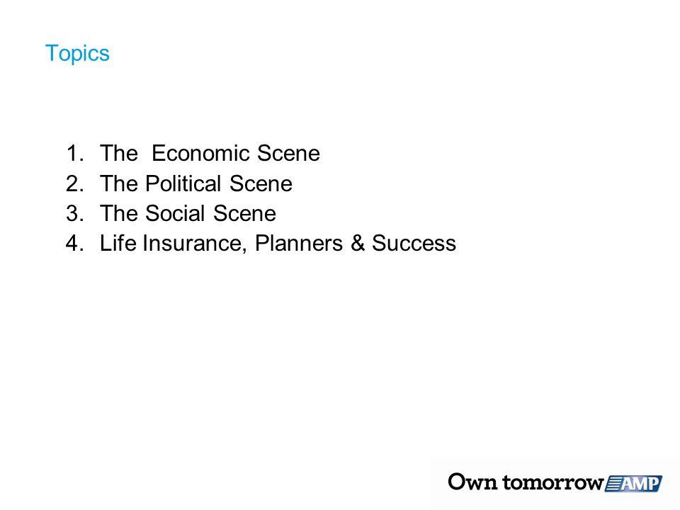 Topics 1.The Economic Scene 2.The Political Scene 3.The Social Scene 4.Life Insurance, Planners & Success