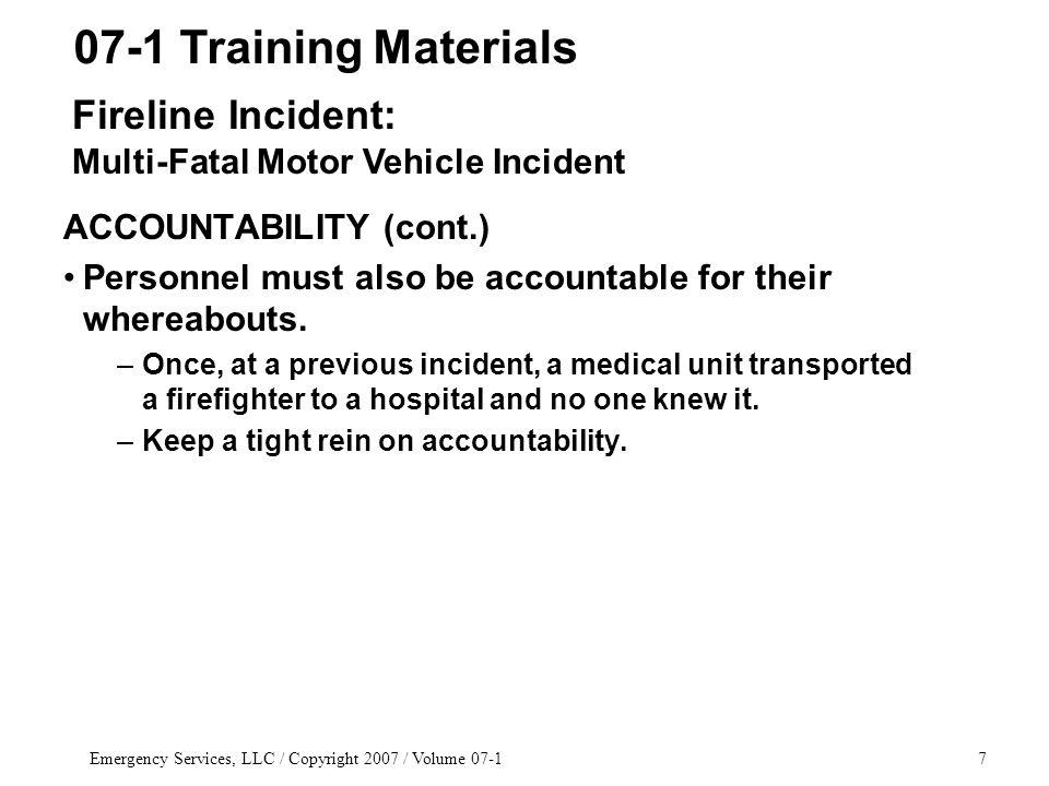 Emergency Services, LLC / Copyright 2007 / Volume 07-168 1.