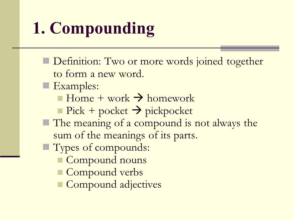 Compound Nouns 1.Boyfriend 2.Breakfast 3.Sunshine, birth control 4.Software, fast food 5.Overboard 6.Drop-out, plug-in 1.Noun + Noun 2.Verb + Noun 3.Noun + Verb 4.Adjective + Noun 5.Particle + Noun 6.Verb + Particle