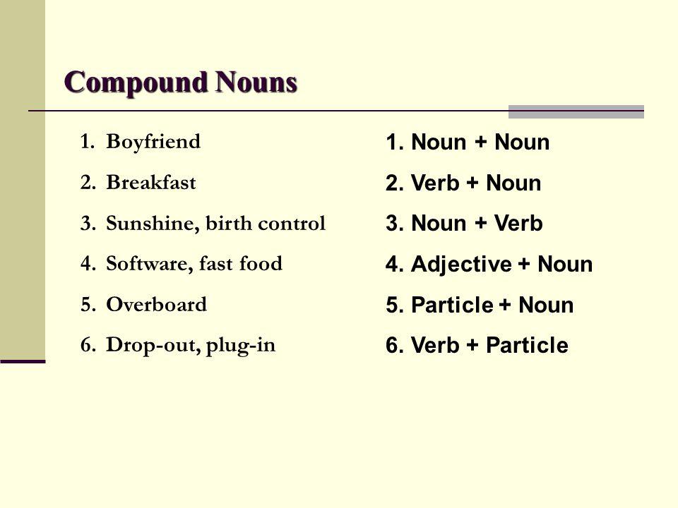 Compound Verbs 1.Carbon-copy, sky-dive 2.Fine-tune 3.Overwork 4.Bad-mouth 1.Noun + Verb 2.Adjective + Verb 3.Particle + Verb 4.Adjective + Noun