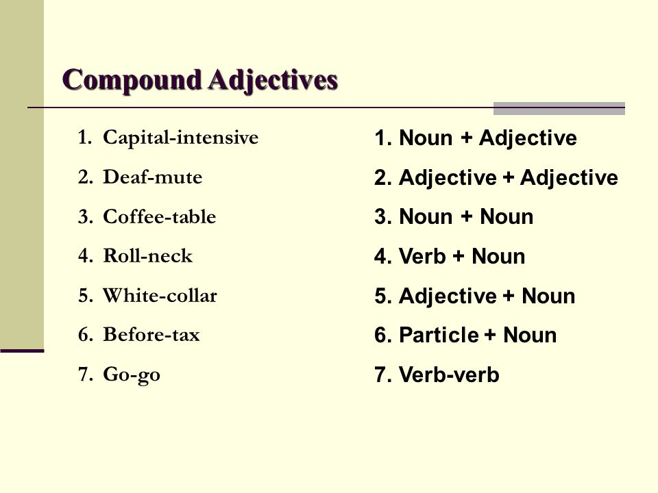 Compound Adjectives 1.Capital-intensive 2.Deaf-mute 3.Coffee-table 4.Roll-neck 5.White-collar 6.Before-tax 7.Go-go 1.Noun + Adjective 2.Adjective + Ad