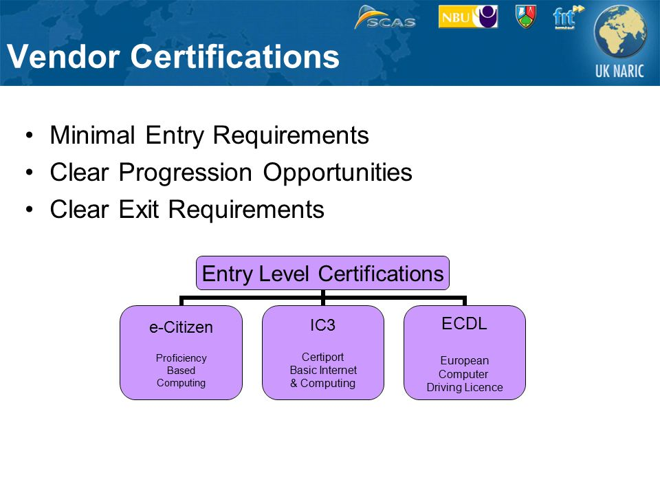 Vendor Certifications Minimal Entry Requirements Clear Progression Opportunities Clear Exit Requirements Entry Level Certifications e-Citizen Proficiency Based Computing IC3 Certiport Basic Internet & Computing ECDL European Computer Driving Licence