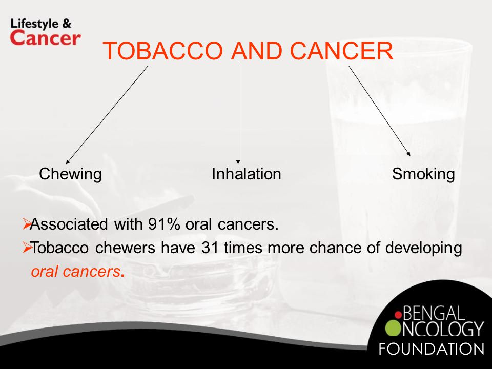 TOBACCO AND CANCER Chewing Inhalation Smoking  Associated with 91% oral cancers.