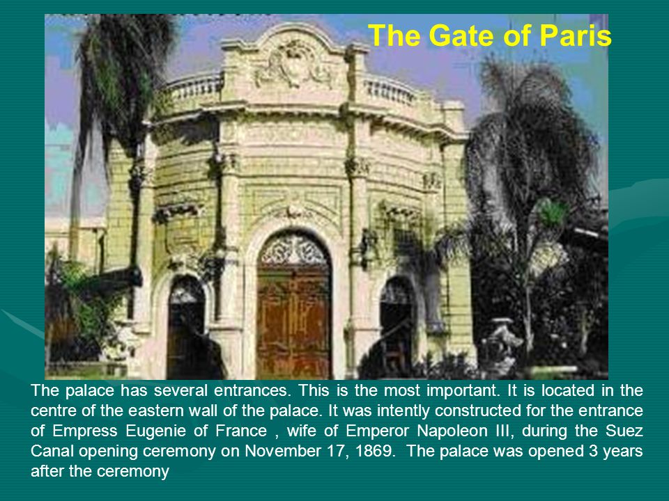 The palace has several entrances.This is the most important.