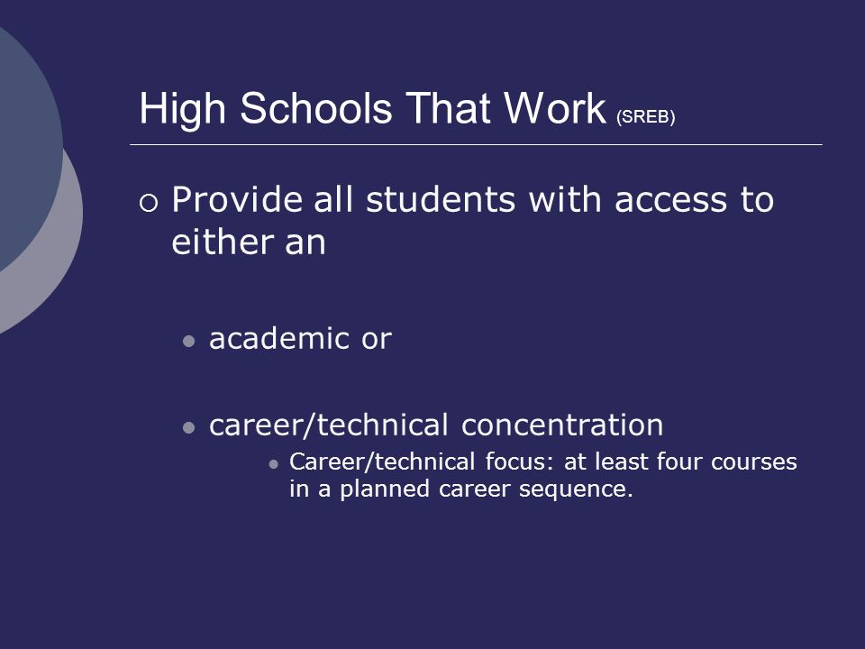 High Schools That Work (SREB)  Provide all students with access to either an academic or career/technical concentration Career/technical focus: at le