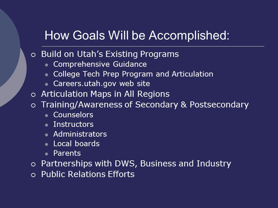 How Goals Will be Accomplished:  Build on Utah's Existing Programs Comprehensive Guidance College Tech Prep Program and Articulation Careers.utah.gov