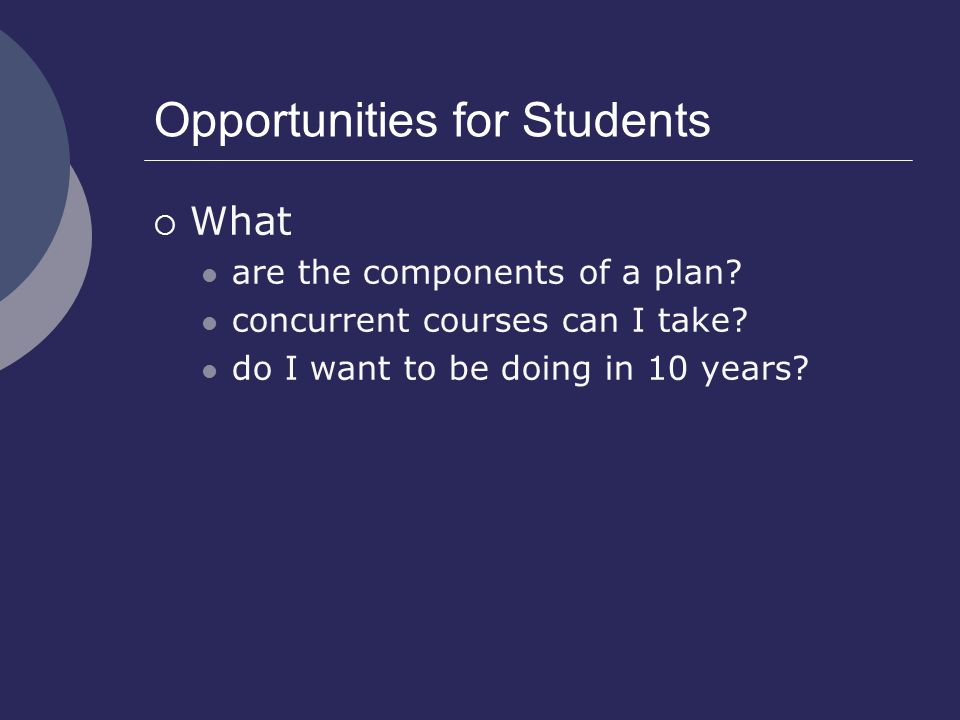 Opportunities for Students  What are the components of a plan.
