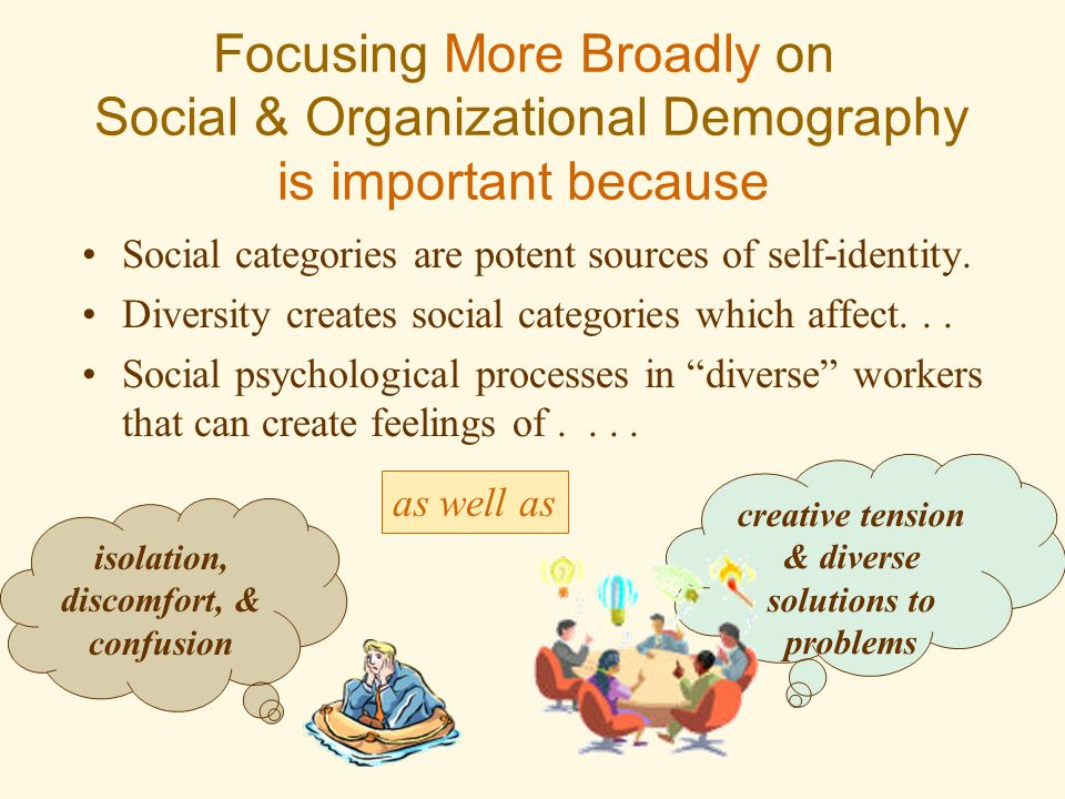 Focusing More Broadly on Social & Organizational Demography is important because Social categories are potent sources of self-identity. Diversity crea