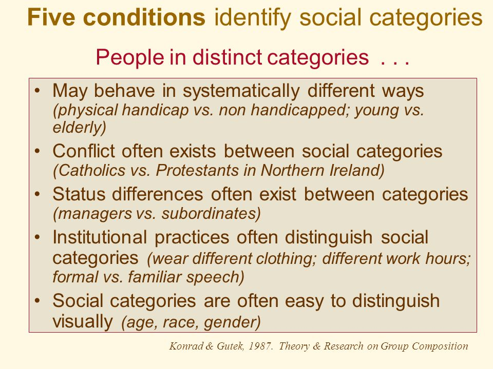 Five conditions identify social categories May behave in systematically different ways (physical handicap vs.