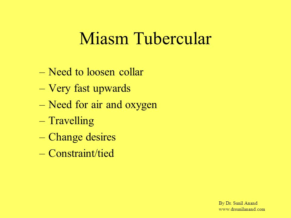 By Dr. Sunil Anand www.drsunilanand.com Miasm Tubercular –Need to loosen collar –Very fast upwards –Need for air and oxygen –Travelling –Change desire