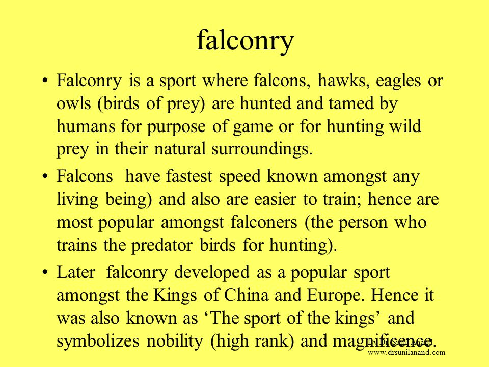 By Dr. Sunil Anand www.drsunilanand.com falconry Falconry is a sport where falcons, hawks, eagles or owls (birds of prey) are hunted and tamed by huma