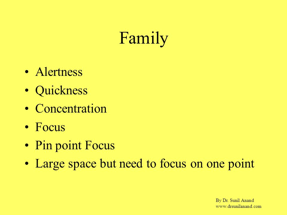 By Dr. Sunil Anand www.drsunilanand.com Family Alertness Quickness Concentration Focus Pin point Focus Large space but need to focus on one point