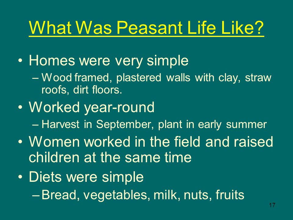 17 What Was Peasant Life Like.