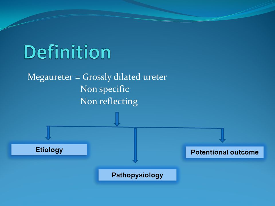 Megaureter = Grossly dilated ureter Non specific Non reflecting Etiology Potentional outcome Pathopysiology
