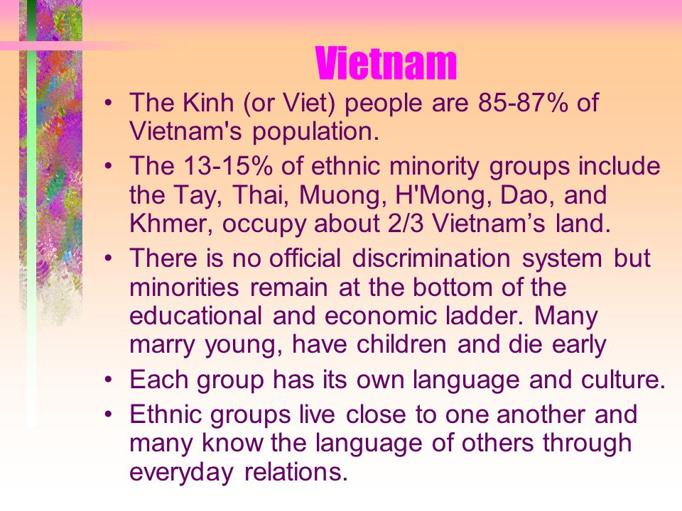 Vietnam The Kinh (or Viet) people are 85-87% of Vietnam s population.