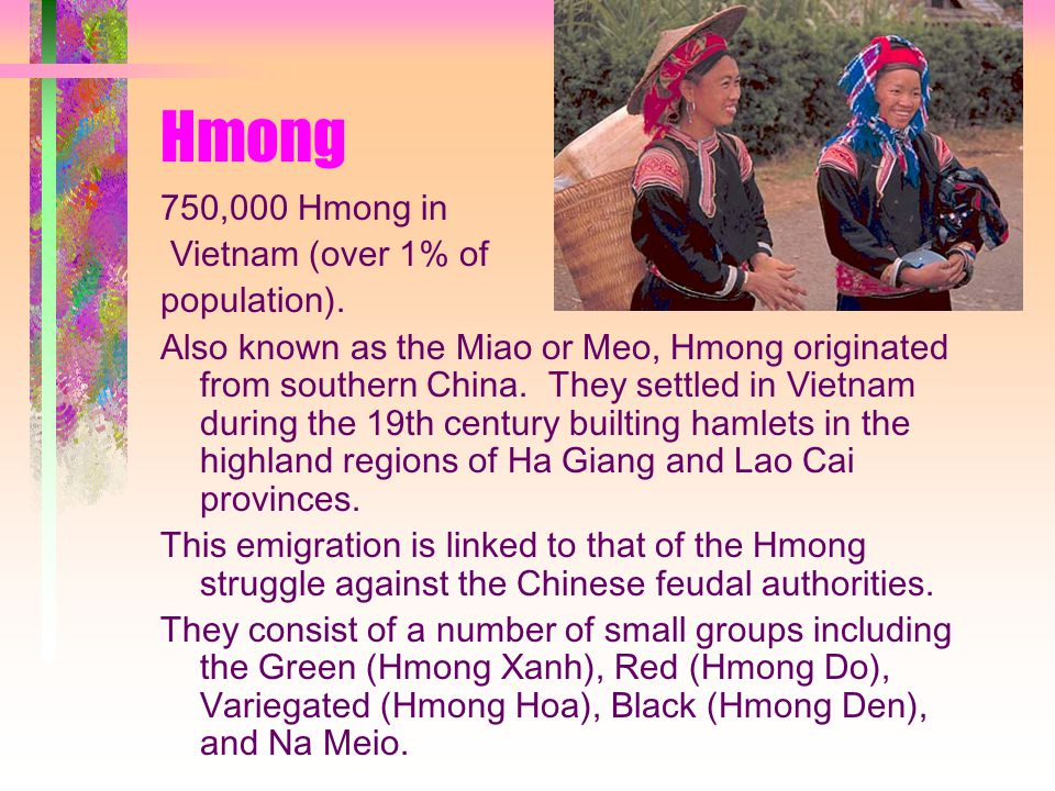 Hmong 750,000 Hmong in Vietnam (over 1% of population).