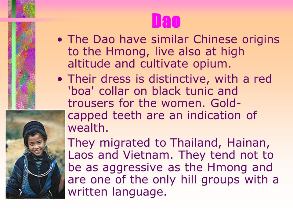 Dao The Dao have similar Chinese origins to the Hmong, live also at high altitude and cultivate opium.