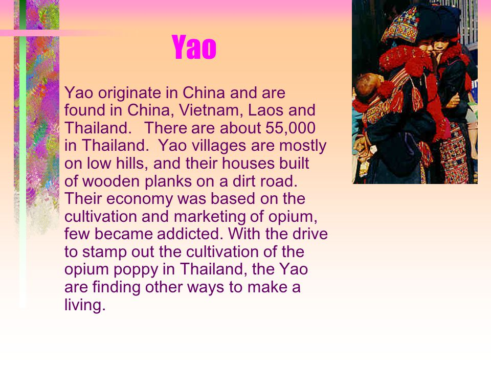 Yao Yao originate in China and are found in China, Vietnam, Laos and Thailand.