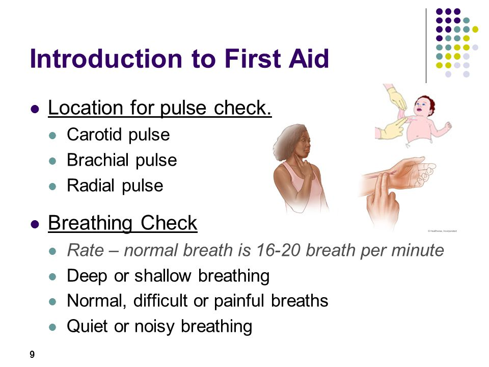 9 Introduction to First Aid Location for pulse check. Carotid pulse Brachial pulse Radial pulse Breathing Check Rate – normal breath is 16-20 breath p