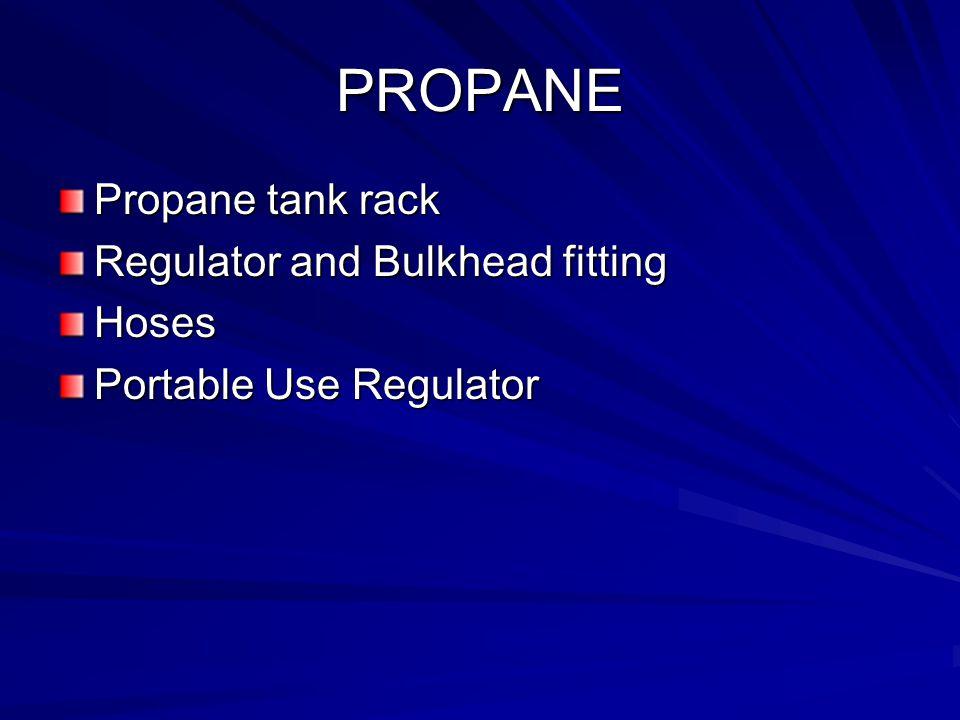 PROPANE Propane tank rack Regulator and Bulkhead fitting Hoses Portable Use Regulator